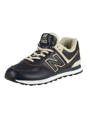 New Balance 574 Leather Sherpa Trainers - Pigment/Powder