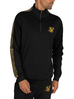 Sik Silk Gold Edit 1/4 Zip Overhead Runner Track Jacket - Black