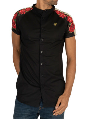 Sik Silk Raglan Back Panel Short Sleeved Shirt - Black/Red