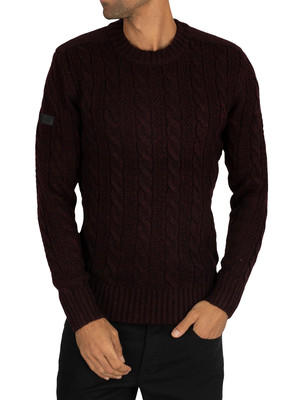 Superdry Jacob Knit - Bright Buck Burgundy Twist