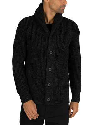 Superdry Jacob Shawl Knit - Magma Black Twist