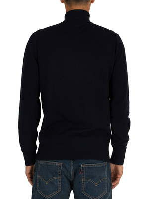 Tommy Hilfiger Lambswool Zip Sweatshirt - Sky Captain Heather