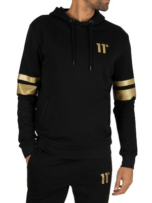 11 Degrees Double Stripe Pullover Hoodie - Black/Gold