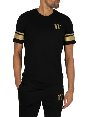 11 Degrees Double Stripe T-Shirt - Black/Gold