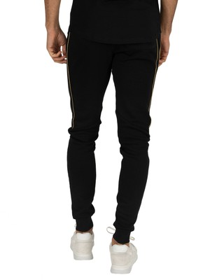 11 Degrees Double Waistband Fleece Skinny Joggers - Black/Gold