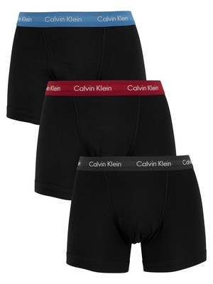 Calvin Klein 3 Pack Trunks - Grey/Red/Blue
