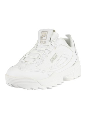 Fila Disruptor 3 Leather Trainers - White/Metalic Silver