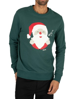 Jack & Jones Snowflake Santa Sweatshirt - Sea Moss