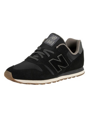 New Balance 373 Suede Trainers - Black/Magnet