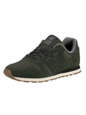 New Balance 373 Suede Trainers - Defense Green/Phantom