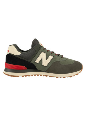 New Balance 574 Suede Trainers - Camo Green/Team Red