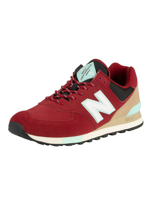 New Balance 574 Suede Trainers - Team Red/Light Reef