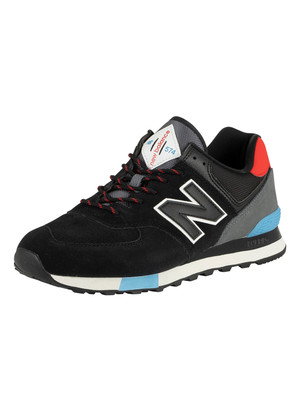 New Balance 574 Suede Trainers - Black/Velocity Red