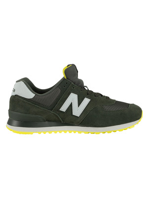 New Balance 574 Suede Trainers - Defense Green/White/Sulphur Yellow