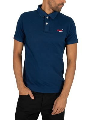 Superdry Classic Pique Polo Shirt - Pilot Mid Blue