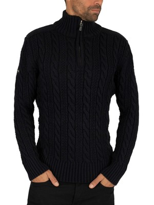 Superdry Jacob Henley Zip Knit - Downhill Navy Twist