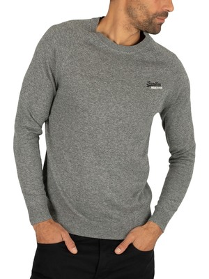 Superdry Orange Label Cotton Knit - Ash Grey Grit