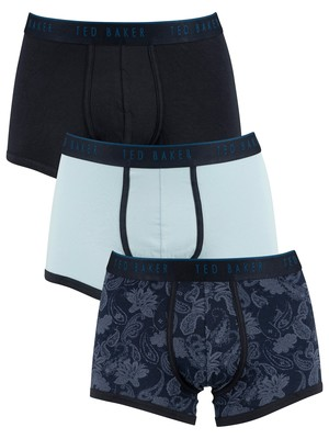 Ted Baker 3 Pack Trunks - Blue/Navy