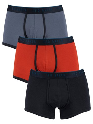 Ted Baker 3 Pack Trunks - Navy/Ketchup/Vind