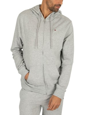 Tommy Hilfiger Lounge Zip Logo Hoodie - Grey Heather