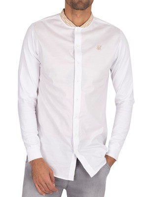 Sik Silk Chain Tape Collar Shirt - White