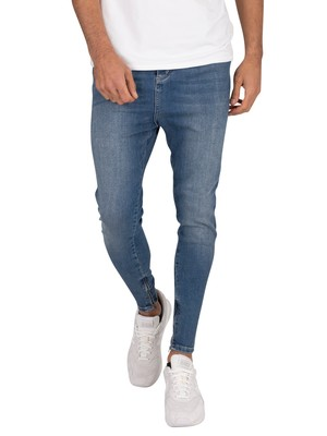 Sik Silk Drop Crotch Denim Jeans - Midstone Blue