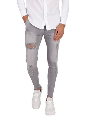 Sik Silk Elasticated Waist Skinny Distressed Jeans - Grey