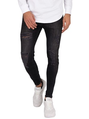 Sik Silk Elasticated Waist Skinny Distressed Jeans - Black