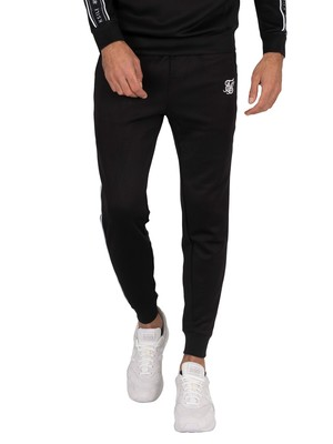 Sik Silk Fitted Panel Tape Track Joggers - Black