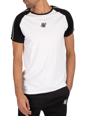 Sik Silk Raglan Straight Hem Tape Gym T-Shirt - Black/White
