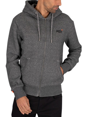 Superdry Classic Zip Hoodie - Dark Grey Herringbone