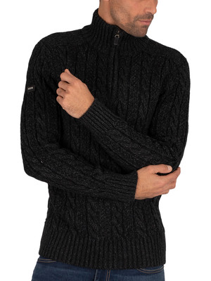 Superdry Jacob Henley Knit - Magma Black Twist