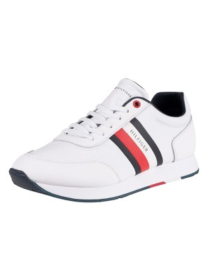 Tommy Hilfiger Corporate Leather Flag Trainers - White