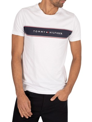 Tommy Hilfiger Long Chest Stripe T-Shirt - White