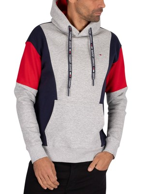 Tommy Jeans Colourblock Pullover Hoodie - Light Grey Heather/Black Iris/Racing Red