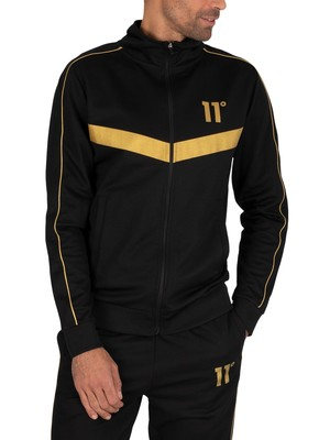 11 Degrees Panelled Poly Track Jacket - Black/Gold