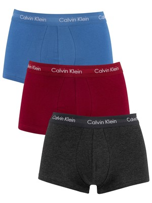 Calvin Klein 3 Pack Low Rise Trunks - Charcoal/Raspberry Jam/Bright Cobalt