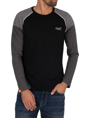 Superdry Desert Longsleeved Baseball T-Shirt - Black