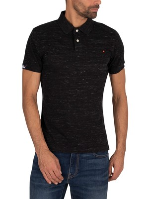 Superdry Orange Label Jersey Polo Shirt - Vast Black Space Dye