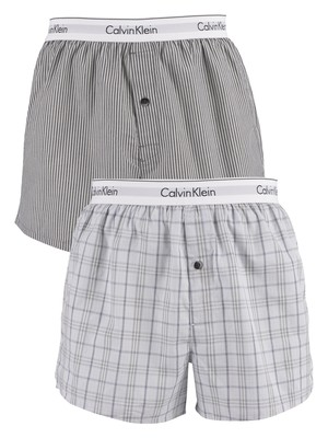 Calvin Klein 2 Pack Slim Fit Woven Boxers - Kent Plaid/Tiverton Stripe