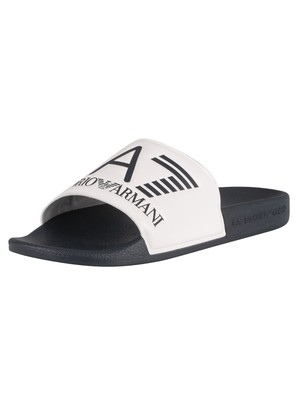 EA7 Sea World Sliders - White/Navy