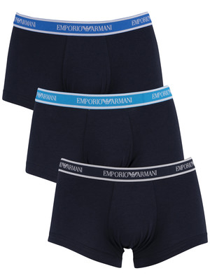 Emporio Armani 3 Pack Trunks - Navy