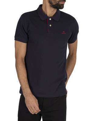 GANT Contrast Collar Pique Polo Shirt - Evening Blue