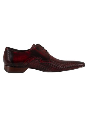Jeffery West Brogue Derby Leather Shoes - Red Poloshed