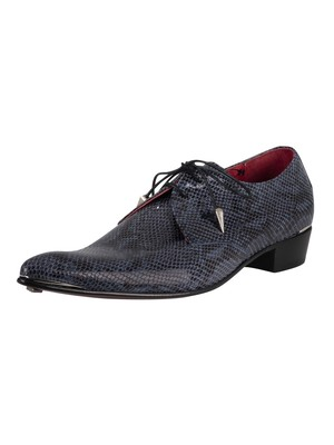 Jeffery West Brogue Derby Leather Shoes - Blue Smoke Amazonas