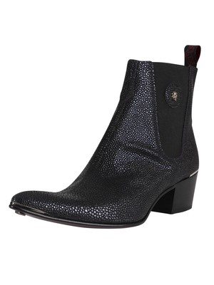 Jeffery West Leather Chelsea Boots - Dark Blue Caviar Marta