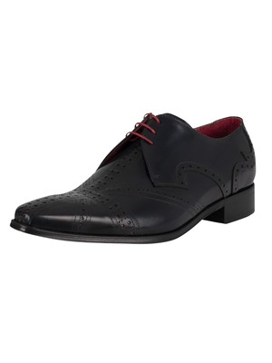 Jeffery West Leather Derby Shoes - Navy Polished