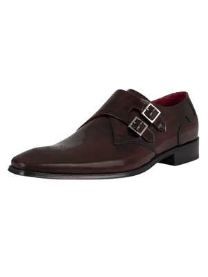 Jeffery West Leather Monk Shoes - Burgundy Polished