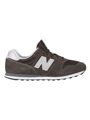 New Balance 373 Suede Trainers - Black Olive/White