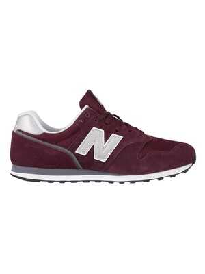 New Balance 373 Suede Trainers - Burgundy/White
